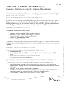 INFECTION DU CHAMP OPÉRATOIRE (ICO) Document d