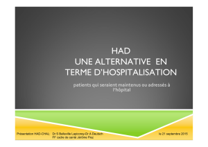 HAD UNE ALTERNATIVE EN TERME D`HOSPITALISATION