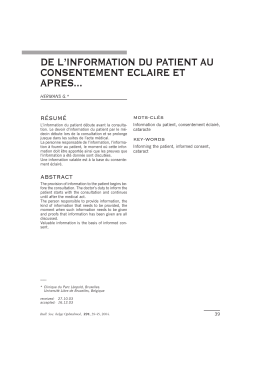 de l`information du patient au consentement