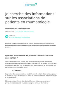 Je cherche des informations sur les associations de patients en