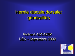 La hernie discale dorsale Résection thoracoscopique