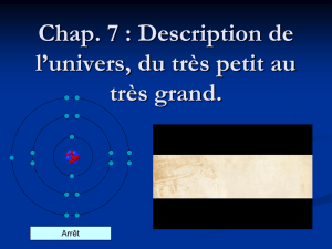 Chap. 7 : Description de l`univers, du très petit au très