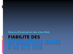 FIABILITE DES INFORMATIONS ISSUES D`UN SITE WEB