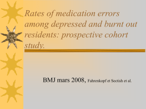 Rates of medication errors among depressed and burnt out