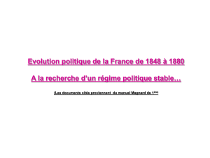 Evolution politique de la France (1848