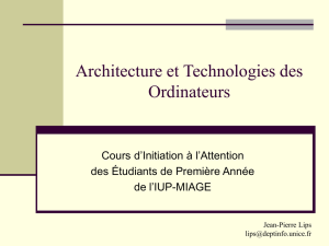 Initiation à L`Architecture des Ordinateurs