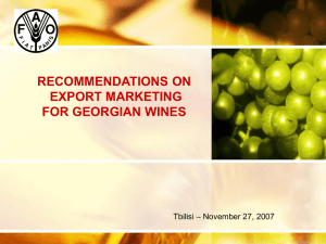 Export Marketing for Georgian wines Actions to be