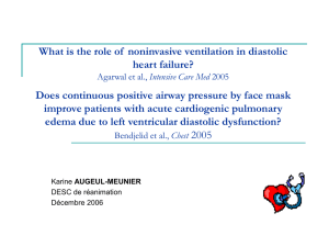 What is the role of noninvasive ventilation in diastolic heart failure