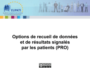 Options for data collection and patient