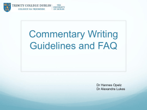 Commentary Writing Guidelines