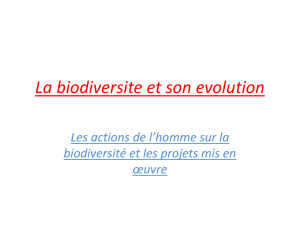 La biodiversite et son evolution