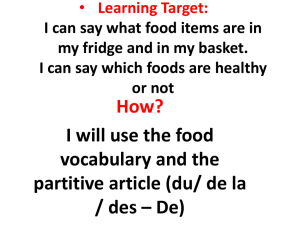 Learning Target: I can say what food items are in my fridge