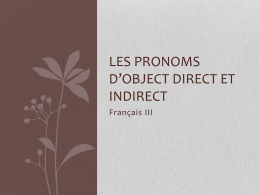 Les pronoms d*object direct et indirect