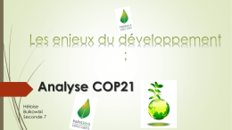 Analyse COP21 - Stanislas Cannes