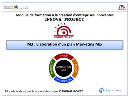Elaboration d`un plan Marketing Mix