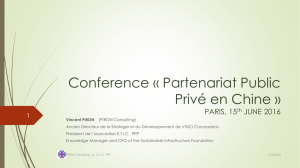 Conference « Public- Private Partnership in China » PARIS, 15th