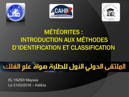 Météorites : introduction aux méthodes d*identification et classification