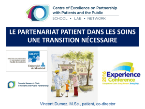 des patients acteurs de soins - Stan Cassidy Centre For Rehabilitation