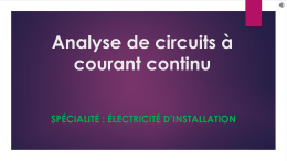 Analyse de circuits à courant continu