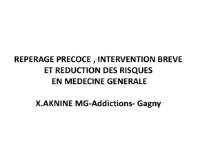 REDUCTION DES RISQUES EN MEDECINE GENERALE