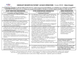 CHECKLIST SECURITE DU PATIENT AU BLOC OPERATOIRE