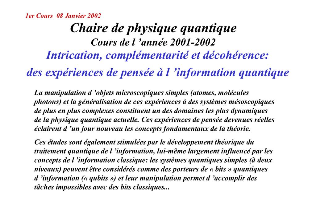 physique quantique cours