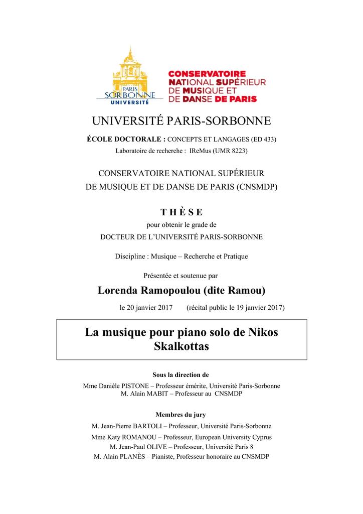 UNIVERSITÉ PARIS-SORBONNE La musique pour piano solo de