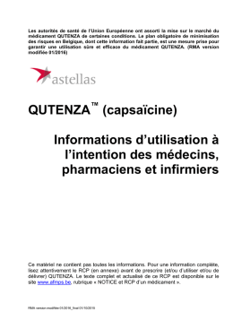 QUTENZA (capsaïcine) Informations d`utilisation à l`intention des