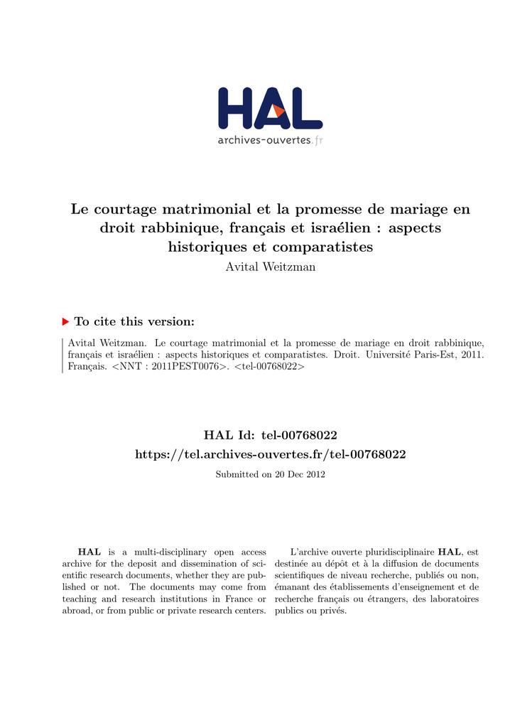 Courtage matrimonial dissertation