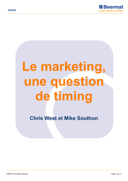 Le marketing, une question de timing