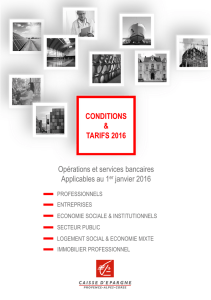 CONDITIONS TARIFS 2016 CONDITIONS