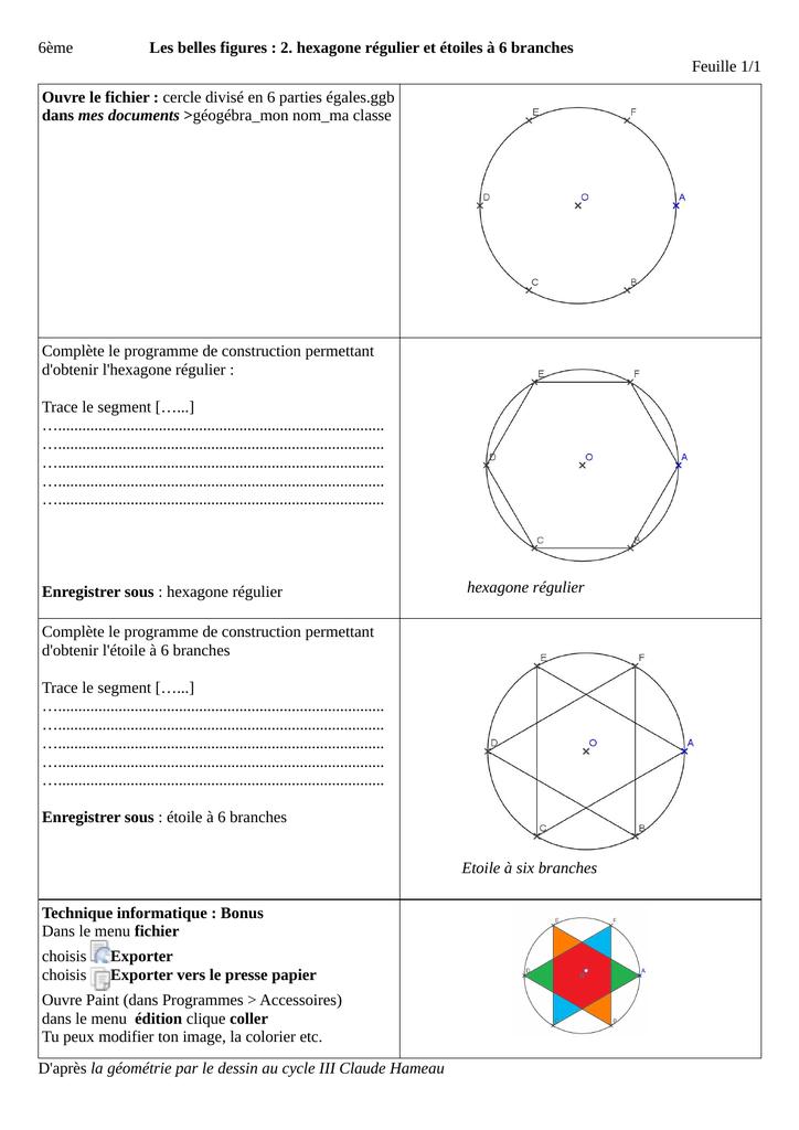 2 Hexagone Régulier Et étoiles à 6 Branches Feuille 11