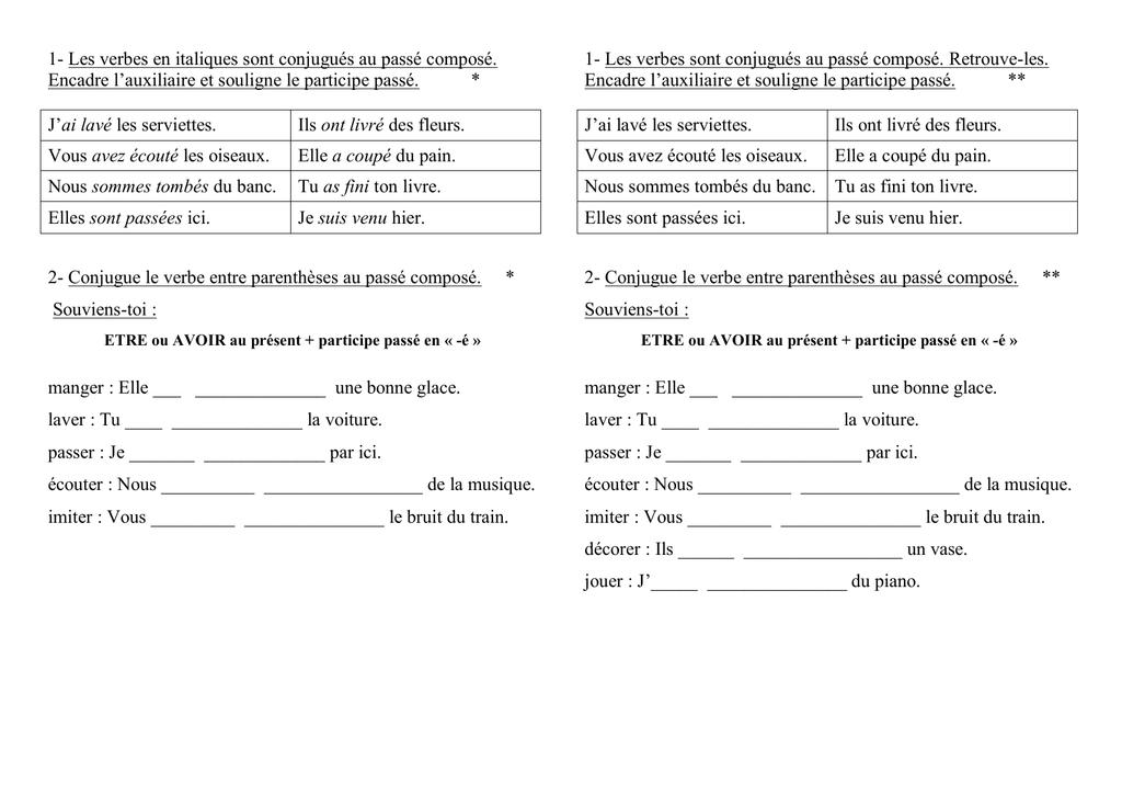 1 Les Verbes En Italiques Sont Conjugues Au Passe Compose