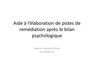 I- PERCEPTION ET ATTENTION AUDITIVE