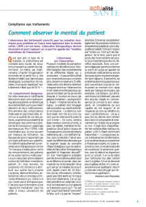 Compliance aux traitements - Comment observer le mental du patient