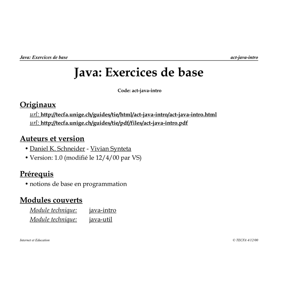 Java: Exercices de base