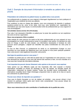 Exemple de document d`information pour le patient ou à son