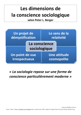 Conscience sociologique selon Peter Berger
