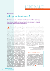Alimentaire - Allergie ou intoloérance
