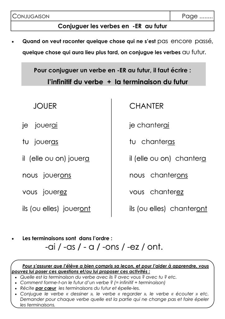 Classeur Outils Conj Conjuguer Les Verbes En