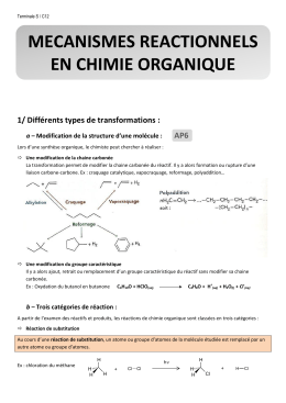 MECANISMES REACTIONNELS EN CHIMIE ORGANIQUE
