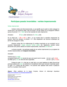 Participes passés invariables : verbes impersonnels