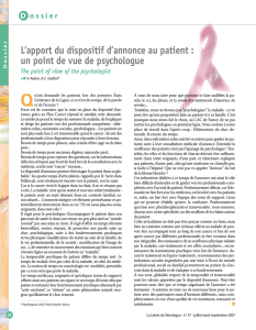 L`apport du dispositif d`annonce au patient : un point de vue de