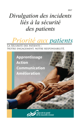Divulgation des incidents liés à la sécurité des patients