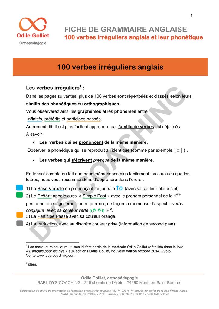 Fiche De Grammaire Anglaise 100 Verbes
