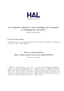 La ``mémoire collective` - Hal-SHS