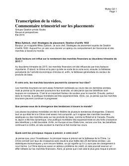 Transcription de la video, Commentaire trimestriel sur