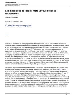 mots voyous devenus respectables - Correspondance