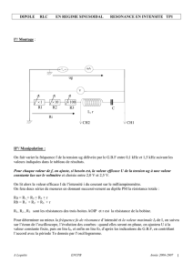 Dipoles rlc en regime sinusoidal resonance en