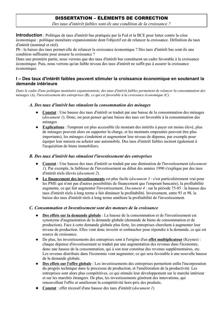Dissertation economie exemple